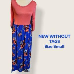 NWOT Myesper SM Floral Contrast POCKET Maxi Dress